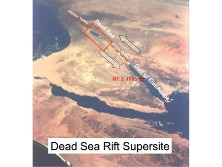 Gulf of Elat/Aqaba Dead Sea Jordan Valley Arava Valley Dead Sea Rift Supersite M7.2, 1995.