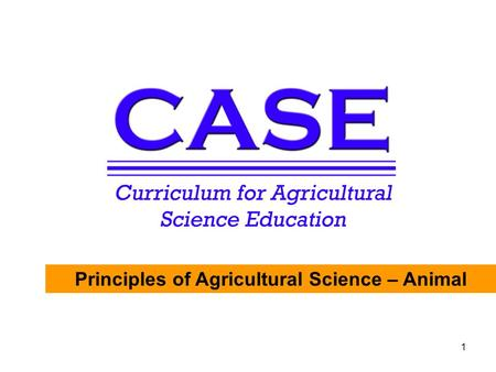 Principles of Agricultural Science - Animal