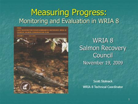 1 Measuring Progress: Monitoring and Evaluation in WRIA 8 WRIA 8 Salmon Recovery Council November 19, 2009 Scott Stolnack WRIA 8 Technical Coordinator.