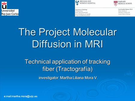 The Project Molecular Diffusion in MRI Technical application of tracking fiber (Tractografía) investigator: Martha Liliana Mora V. investigator: Martha.