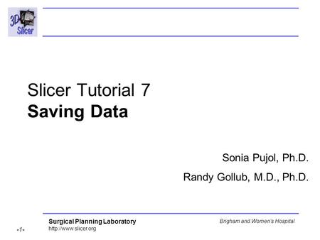 Surgical Planning Laboratory  -1- Brigham and Womens Hospital Slicer Tutorial 7 Saving Data Sonia Pujol, Ph.D. Randy Gollub, M.D.,