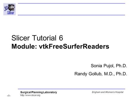 Surgical Planning Laboratory  -1- Brigham and Womens Hospital Slicer Tutorial 6 Module: vtkFreeSurferReaders Sonia Pujol, Ph.D. Randy.