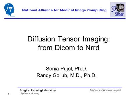 Surgical Planning Laboratory  -1- Brigham and Womens Hospital Diffusion Tensor Imaging: from Dicom to Nrrd Sonia Pujol, Ph.D. Randy.