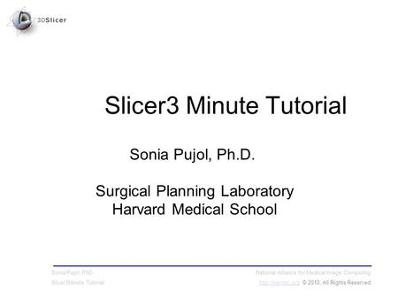 National Alliance for Medical Image Computing  © 2010, All Rights Reserved Sonia Pujol, PhD Slicer3Minute Tutorial Sonia.