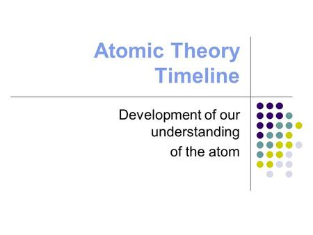 Atomic Theory Timeline Development of our understanding of the atom.