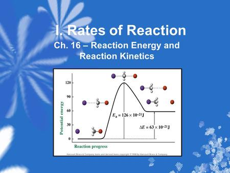 I. Rates of Reaction Ch. 16 – Reaction Energy and Reaction Kinetics.