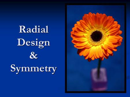 Radial Design & Symmetry. Symmetry is where one part of an image is balanced or mirrored by the other side. Symmetry is where one part of an image is.