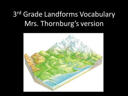 3 rd Grade Landforms Vocabulary Mrs. Thornburgs version.
