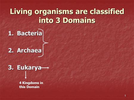1 Living organisms are classified into 3 Domains 1.Bacteria 2.Archaea 3.Eukarya 4 Kingdoms in this Domain.