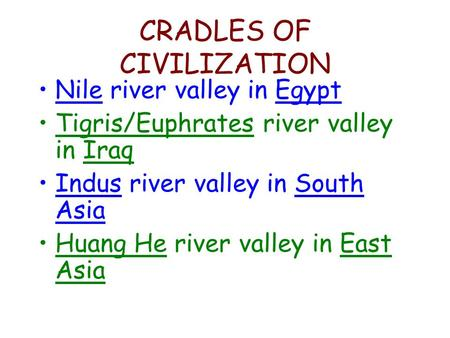 CRADLES OF CIVILIZATION Nile river valley in Egypt Tigris/Euphrates river valley in Iraq Indus river valley in South Asia Huang He river valley in East.