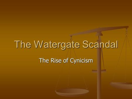 The Watergate Scandal The Rise of Cynicism. The Nixon Years Richard Nixons Political Career Anticommunist in 1950s VP to Eisenhower Lost to JFK in 1960.