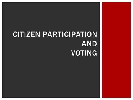 CITIZEN PARTICIPATION AND VOTING. Civic- Support the government Obey laws Serve on juries Defend our country Political Pay taxes Vote Stay informed about.