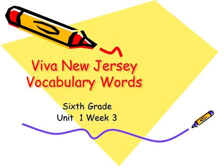 Viva New Jersey Vocabulary Words