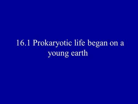 16.1 Prokaryotic life began on a young earth. I. The Oldest Fossils A. Stromatolites- are thin layers of rock that contain ancient fossils B.Prokaryotes.