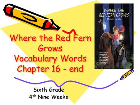 Where the Red Fern Grows Vocabulary Words Chapter 16 - end Sixth Grade 4 th Nine Weeks.