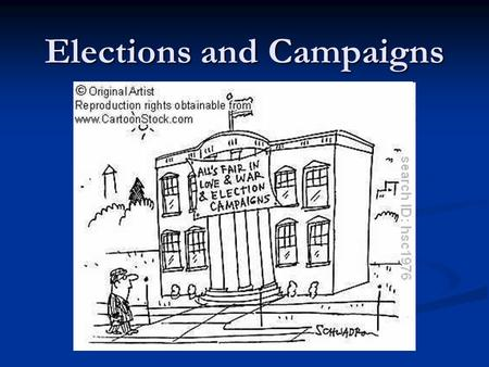 Elections and Campaigns. Campaigns: Then and Now Parties are less important Parties are less important Media, polling, and money are more important Media,