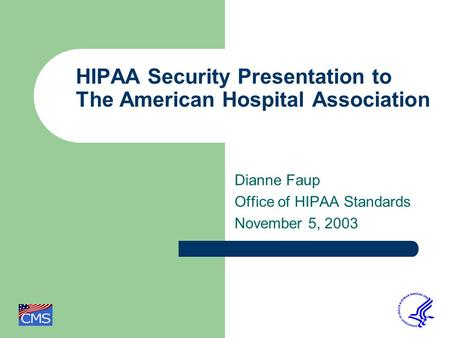 HIPAA Security Presentation to The American Hospital Association Dianne Faup Office of HIPAA Standards November 5, 2003.