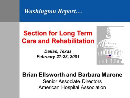 Section for Long Term Care and Rehabilitation Dallas, Texas February 27-28, 2001 Brian Ellsworth and Barbara Marone Senior Associate Directors American.