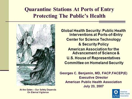 Quarantine Stations At Ports of Entry Protecting The Publics Health Global Health Security: Public Health Interventions at Ports-of-Entry Center for Science.