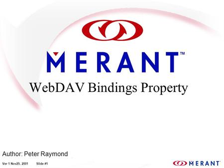 Ver 1 Nov29, 2001 Slide #1 WebDAV Bindings Property Author: Peter Raymond.