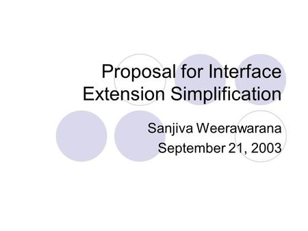 Proposal for Interface Extension Simplification Sanjiva Weerawarana September 21, 2003.