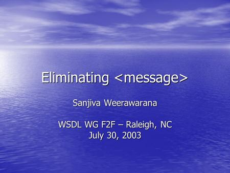 Eliminating Eliminating Sanjiva Weerawarana WSDL WG F2F – Raleigh, NC July 30, 2003.