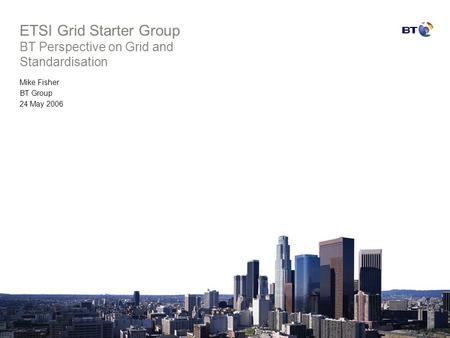 ETSI Grid Starter Group BT Perspective on Grid and Standardisation Mike Fisher BT Group 24 May 2006.