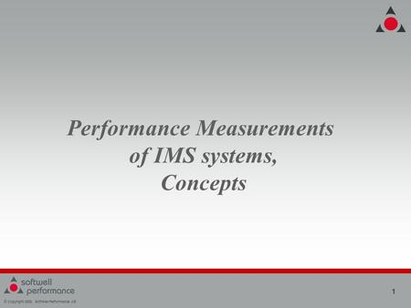 © Copyright 2008, SoftWell Performance AB 1 Performance Measurements of IMS systems, Concepts.