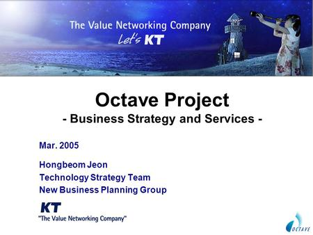 Octave Project - Business Strategy and Services - Mar. 2005 Hongbeom Jeon Technology Strategy Team New Business Planning Group.