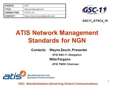 Standards that Drive the Business of Communications GSC: Standardization Advancing Global Communications 1 ATIS Network Management Standards for NGN SOURCE:ATIS.