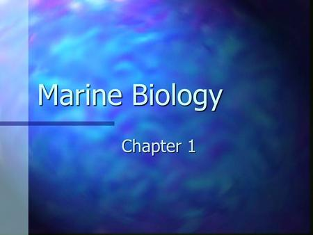 Marine Biology Chapter 1. Oceanography The scientific study of the oceans The scientific study of the oceans.