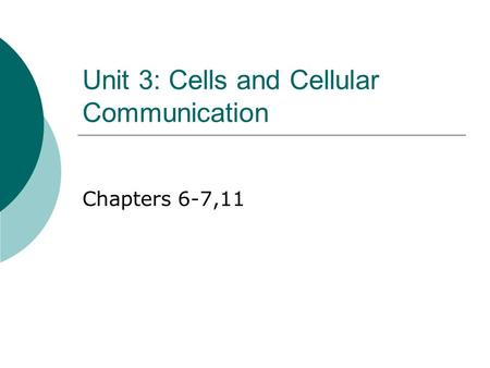 Unit 3: Cells and Cellular Communication Chapters 6-7,11.