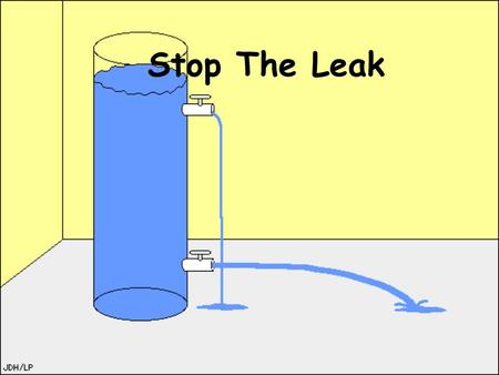 Stop The Leak Procedure *First fill the bottle (or canister) to the top with water leak out of holes. *Second refill and let the water leak a little.