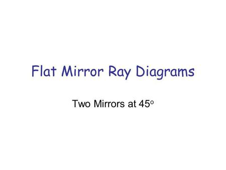 Flat Mirror Ray Diagrams Two Mirrors at 45 o. X Step 1: Locating the Images Copy mirrors and object Recall image distance equals object distance X dodo.