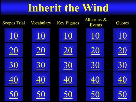 Inherit the Wind 50 40 10 20 30 50 40 10 20 30 50 40 10 20 30 50 40 10 20 30 50 40 10 20 30 VocabularyScopes TrialKey Figures Allusions & Events Quotes.