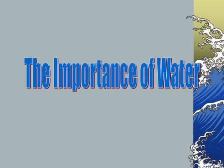 Water: The Facts Water is possibly the most important compound in living organisms. Water consists of 1 atom of oxygen combined with 2 atoms of hydrogen.