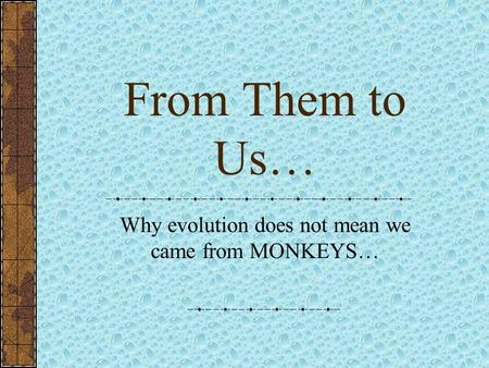 Why evolution does not mean we came from MONKEYS…
