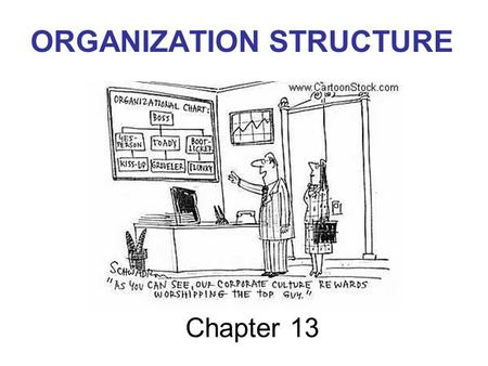 Chapter 13 ORGANIZATION STRUCTURE. Management Talk Our company today is leaner, faster, more flexible and more efficient – in short much more competitive.