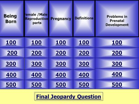 Final Jeopardy Question Being Born Female /Male Reproductive parts 500 Problems in Prenatal Development Pregnancy Definitions 100 200 300 400 500 400 300.