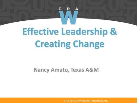 CRA-W CAPP Workshop – November 2012 Effective Leadership & Creating Change Nancy Amato, Texas A&M.