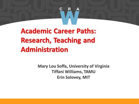 Academic Career Paths: Research, Teaching and Administration Mary Lou Soffa, University of Virginia Tiffani Williams, TAMU Erin Solovey, MIT.
