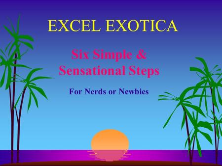 EXCEL EXOTICA Six Simple & Sensational Steps For Nerds or Newbies.