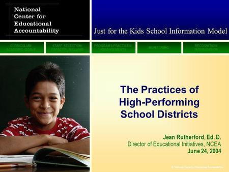 CURRICULUM/ ACADEMIC GOALS STAFF SELECTION/ CAPACITY BUILDING PROGRAMS/PRACTICES/ ARRANGEMENTS MONITORING RECOGNITION/ INTERVENTION © National Center for.