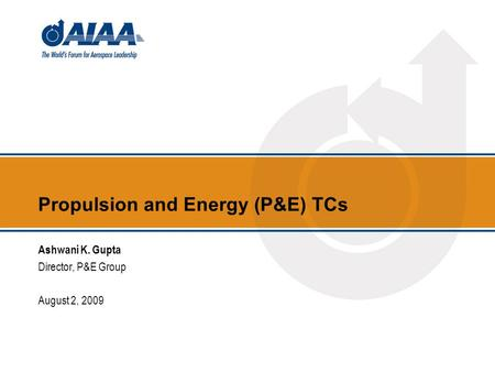 Propulsion and Energy (P&E) TCs Ashwani K. Gupta Director, P&E Group August 2, 2009.