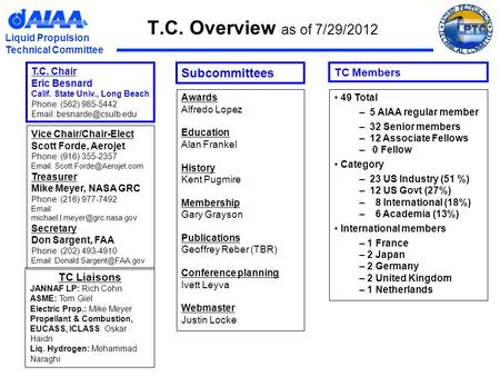 Liquid Propulsion Technical Committee T.C. Overview as of 7/29/2012 TC Liaisons JANNAF LP: Rich Cohn ASME: Tom Giel Electric Prop.: Mike Meyer Propellant.
