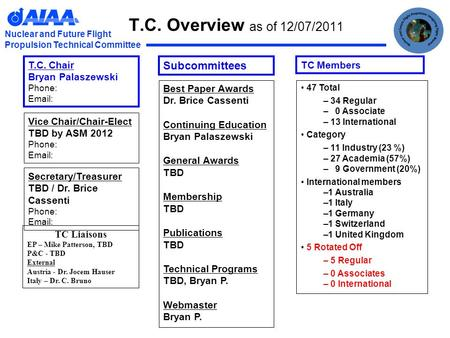 Nuclear and Future Flight Propulsion Technical Committee T.C. Overview as of 12/07/2011 TC Liaisons EP – Mike Patterson, TBD P&C - TBD External Austria.