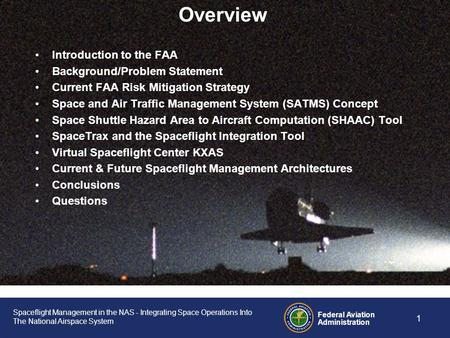 Spaceflight Management in the NAS Integrating Space Operations Into The National Airspace System IMPROVING SPACE OPERATIONS WORKSHOP NOAA Satellite Operations.