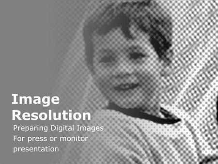 Digital Image Resolution Image Resolution Preparing Digital Images For press or monitor presentation.