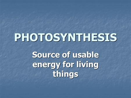 Source of usable energy for living things