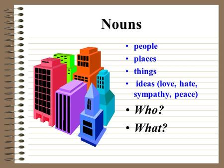 Nouns people places things ideas (love, hate, sympathy, peace) Who? What?